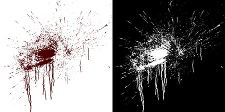 Computer simulation of splashes and blood flows on a white wall. Digital illustration with alpha matte to compose. 3d rendering Stock Photo