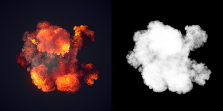 Large explosion with black smoke in dark with alpha channel. Top view. 3d rendering 写真素材