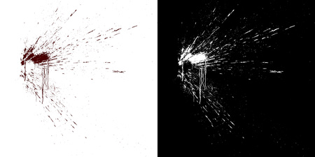 Computer simulation of splashes and blood flows on a white wall.
