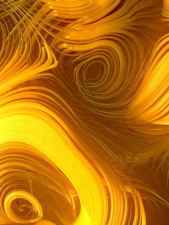 Interlacing abstract yellow curves. Very shallow depth of field. Focus on the central Curves. 3D rendering