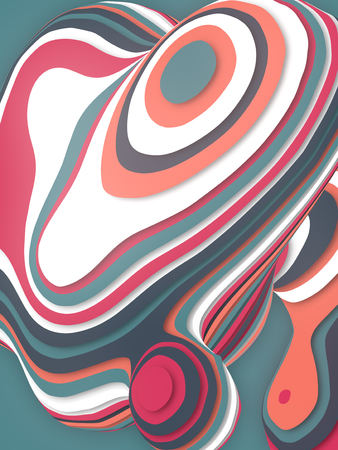 Colored abstract sliced shape. Computer generated geometric illustration. 3D rendering Imagens