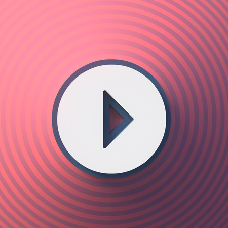 Video, audio play symbol, button, colorful sign. 3d rendering Digital illustration
