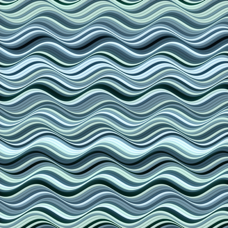 Blue colored horizontal Wavy Background. Abstract Dynamic Effect. Design Template. Modern Pattern. 3d rendering Imagens