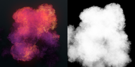 Chemical cloud of pink smoke mixing on black background with alpha channel. 3d rendering