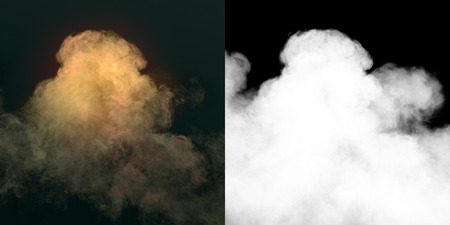 Chemical cloud of yellow smoke mixing on black background with alpha channel. 3d rendering