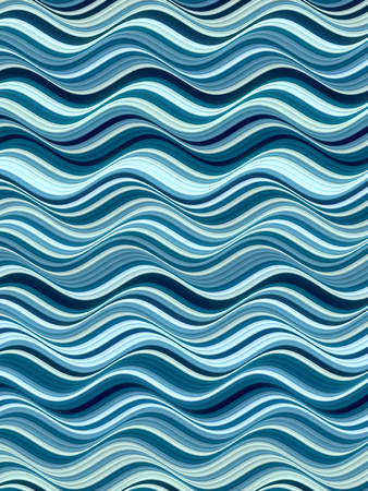 Blue colored horizontal Wavy Background. Abstract Dynamic Effect. Design Template. Modern Pattern. 3d rendering Stock Photo