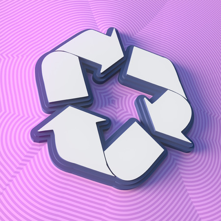 Recycle symbol, button with shadow. Colorful sign. 3d rendering. Digital illustration