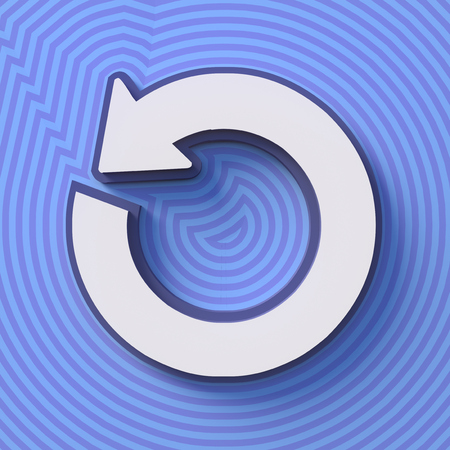 Refresh symbol, button with shadow. Colorful sign. 3d rendering. Digital illustration