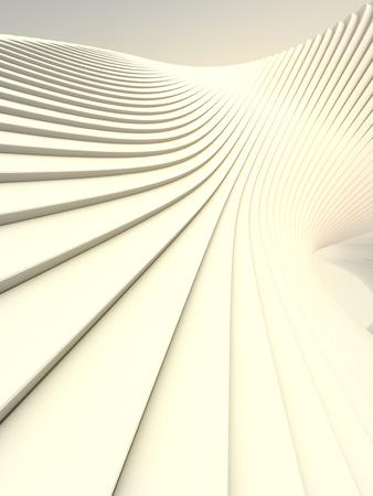 White stripe architectural background. Computer generated geometric illustration. Futuristic geometric lines pattern. 3d render