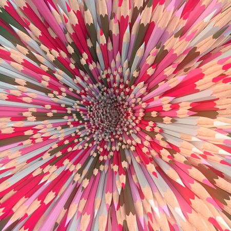 Background of colored pencils for creativity closeup. Back to school design template background. 3d rendering Imagens
