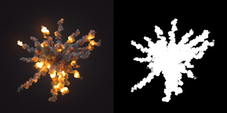 Composition with large explosions and black smoke in dark plus alpha channel. 3d rendering Stock Photo