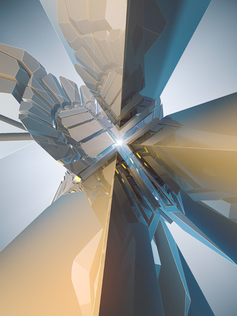 Abstract futuristic shiny plastic three-dimensional shape. Surrounded by light mist. 3d rendering