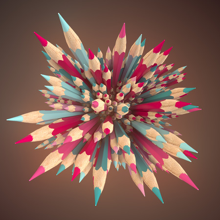 Abstract composition of colored pencils urrounded by light mist. Back to school design template background. 3d rendering