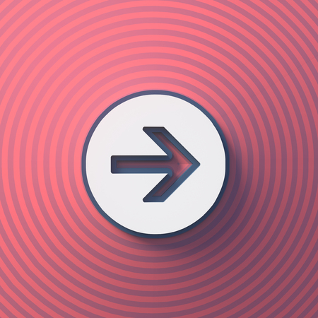 Arrow symbol, button with shadow. Colorful sign. 3d rendering. Digital illustration