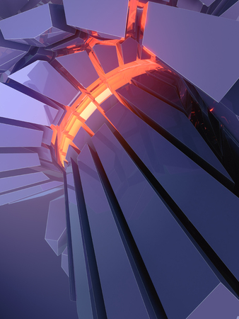 Abstract blue futuristic shiny plastic three-dimensional shape with orange glowing lights. Surrounded blue colored mist. 3d rendering
