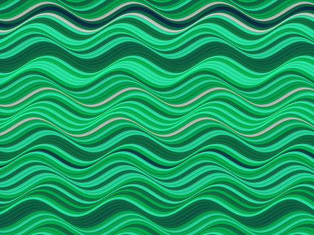 Green colored horizontal Wavy Background. Abstract Dynamic Effect. Design Template. Modern Pattern. 3d rendering