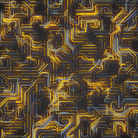 Digital abstract yellow colored lines. Modern covers design with geometric pattern. 3d rendering background Imagens