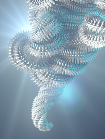 Abstract futuristic curled shape surrounded by blue colored mist. Computer generated geometric illustration. Digital abstract background. 3d rendering