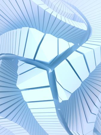 White pattern of futuristic geometric shapes surrounded by light mist. Computer generated geometric illustration. Fantastic architectural background. 3d rendering Imagens