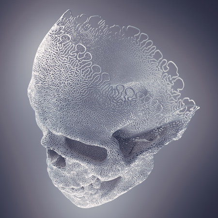 Computer generated abstract white plastic wire skull on a light background surrounded by mist. Geometric modern pattern. 3d rendering Imagens