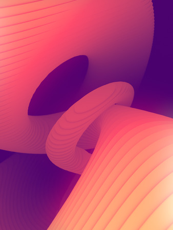 Colored striped architectural pattern surrounded by pink light mist. Computer generated geometric illustration. Futuristic geometric lines composition. 3d render