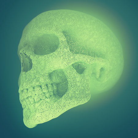 Computer generated abstract plastic wire skull on a colored background surrounded by green mist. Geometric modern pattern. 3d rendering