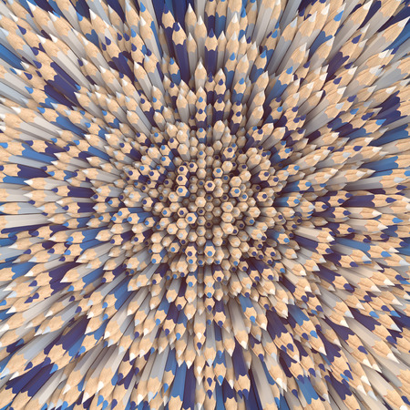 Background of colored pencils for creativity closeup. Back to school design template background. 3d rendering