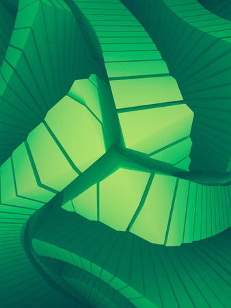 Colored pattern of futuristic geometric shapes surrounded by light green mist. Computer generated geometric illustration. Fantastic architectural background. 3d rendering