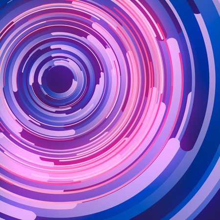 Shapes with blue and pink colored gradients composition. Abstract 3d rendering. Computer generated geometric pattern. Modern covers design with multicolored circles.