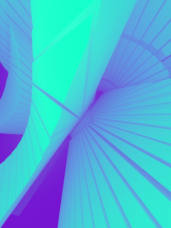Blue colored pattern of futuristic geometric shapes surrounded by light pink mist. Computer generated geometric illustration. Fantastic architectural background. 3d rendering