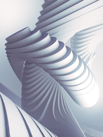 White striped architectural pattern surrounded by light mist. Computer generated geometric illustration. Futuristic geometric lines composition. 3d render
