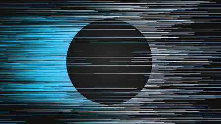 Horizontal digital abstract blue colored lines. Composition with a black circle in the center. Computer generated geometric pattern. 3d rendering background