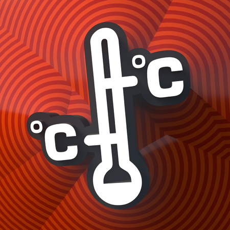 Thermometer symbol, button with shadow. Colorful sign. 3d rendering. Digital illustration