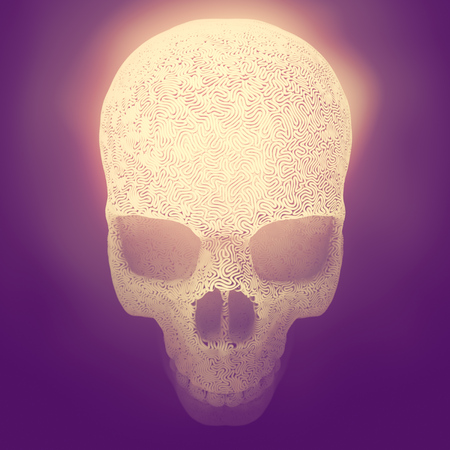 Computer generated abstract plastic wire skull on a colored background surrounded by pink mist. Geometric modern pattern. 3d rendering
