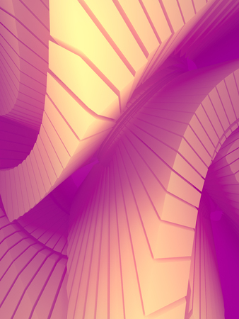 Colored pattern of futuristic geometric shapes surrounded by light pink mist. Computer generated geometric illustration. Fantastic architectural background. 3d rendering