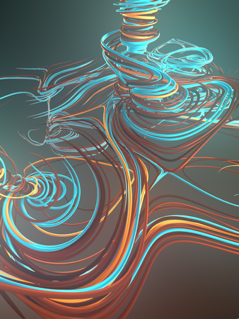 Abstract blue colored strands. Computer generated geometric lines pattern surrounded by light mist. 3D rendering