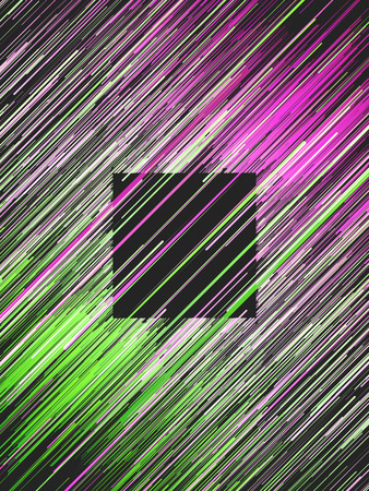 Diagonal digital abstract pink and green colored lines. Composition with a black square in the center. Computer generated geometric pattern. 3d rendering background