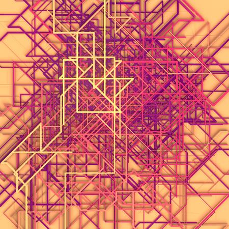 Pink colored hi-tech futuristic geometric pattern. Modern covers design. Abstract urban landscape. 3d illustration