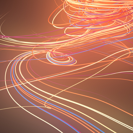 Abstract orange colored strands. Computer generated geometric lines pattern surrounded by light mist. 3D rendering Imagens