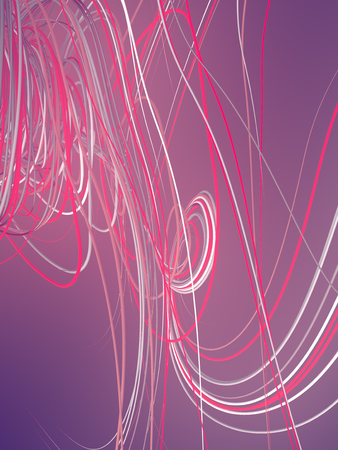 Abstract pink colored strands. Computer generated geometric lines pattern surrounded by light mist. 3D rendering