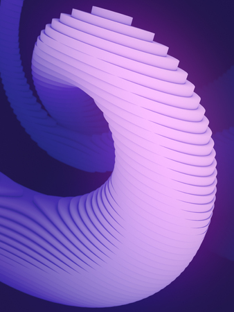 Colored striped architectural pattern surrounded by blue light mist. Computer generated geometric illustration. Futuristic geometric lines composition. 3d render Imagens