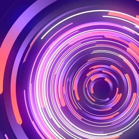 Shapes with pink colored gradients composition. Abstract 3d rendering. Computer generated geometric pattern. Modern covers design with multicolored circles. Imagens