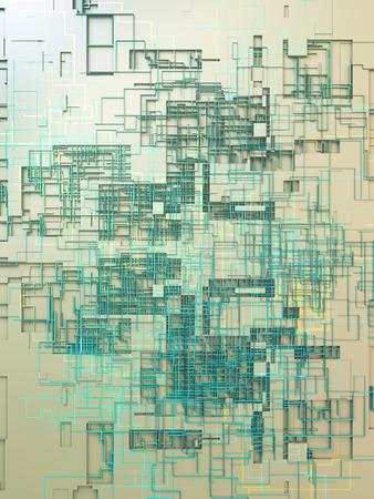 Colored hi-tech futuristic geometric pattern. Modern covers design. Abstract urban landscape. 3d illustration