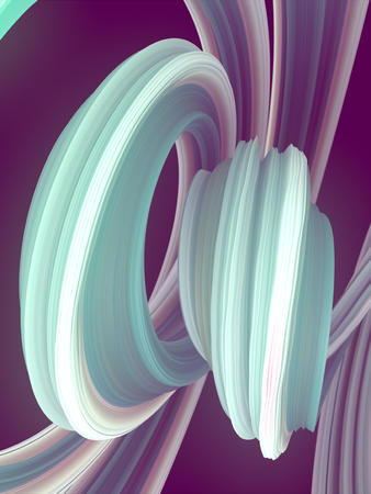 Pink and blue Colored abstract twisted shape. Computer generated geometric illustration. 3D rendering