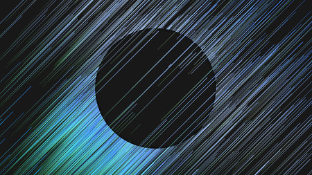 Diagonal digital abstract blue colored lines. Composition with a black circle in the center. Computer generated geometric pattern. 3d rendering background
