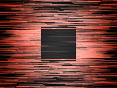Horizontal digital abstract orange colored lines. Composition with a black square in the center. Computer generated geometric pattern. 3d rendering background Imagens
