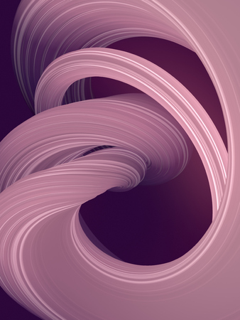 Colored abstract twisted shape. Computer generated geometric illustration. 3D rendering