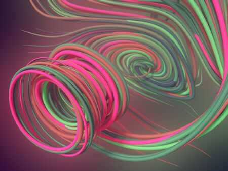 Abstract pink and green colored strands. Computer generated geometric lines pattern surrounded by light mist. 3D rendering Фото со стока