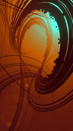 Abstract colored strands. Computer generated geometric lines pattern surrounded by light mist. 3D rendering Фото со стока