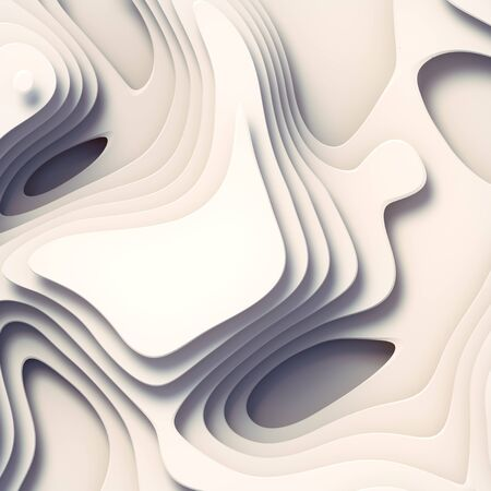 3d rendering wave bends white flowing surface. Topography map concept. Computer generated geometric pattern. Abstract design for website template